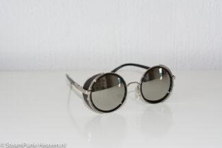 Steampunk bril zwart / zilver met spiegelende glazen