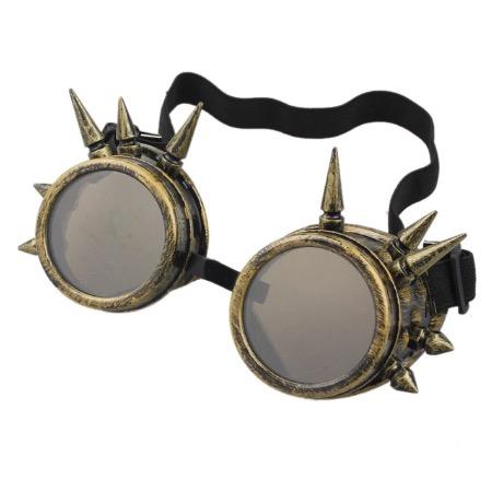 Steampunk goggles 6, kleur goud, met spikes