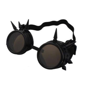 Steampunk goggles 12, kleur zwart, met spikes