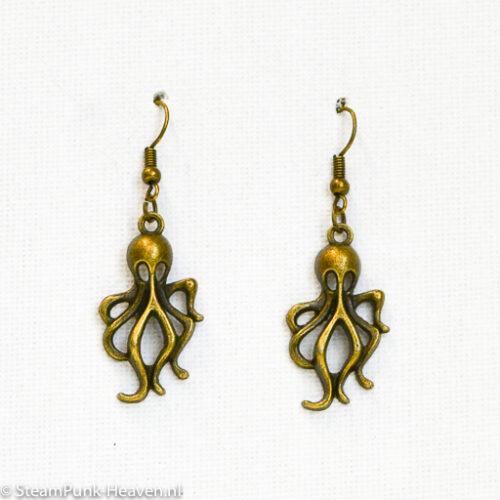 Steampunk oorbellen 36, kleur brons met octopus