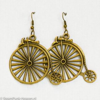 Steampunk oorbellen 50, kleur brons met velo
