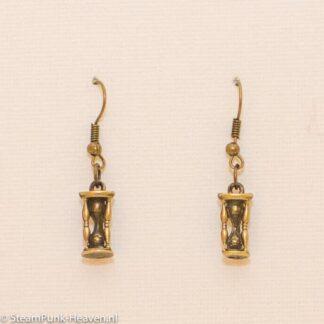 Steampunk oorbellen 56, kleur brons