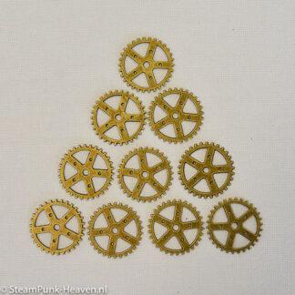 Steampunk tandwielen 7, kleur brons, set van 10 stuks
