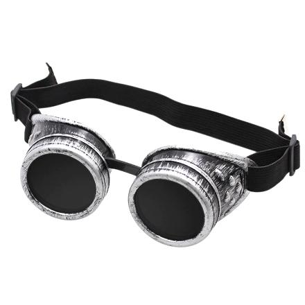 Steampunk goggles 80, antiek zilver. Steampunk bril
