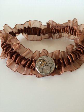Steampunk kousenband 2 met horloge uurwerk