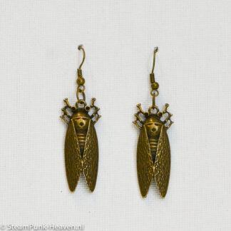 Steampunk oorbellen 40, kleur brons, met kevers