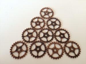 Steampunk tandwielen 12, set van 10 stuks