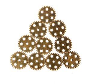 Steampunk tandwielen 17, set van 10 stuks