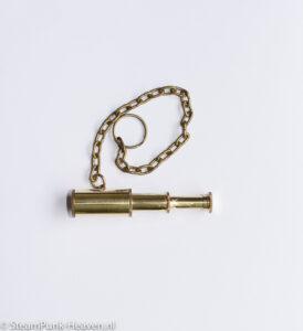Steampunk mini bronzen telescoop met klokketting