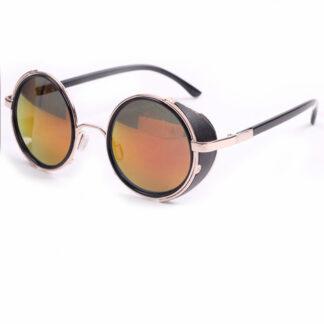 Steampunk bril 12 heeft goudgeel spiegelende glazen