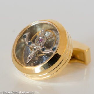 Steampunk manchetknopen 3 , kleur goud
