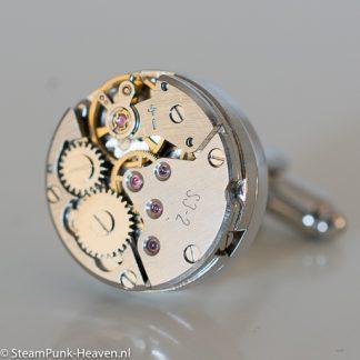 Steampunk manchetknopen 5, kleur zilver