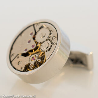 Steampunk manchetknopen 7, kleur zilver