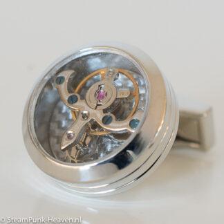 Steampunk manchetknopen 9, kleur zilver