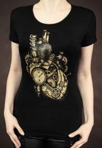 Steampunk t-shirt met mechanisch hart