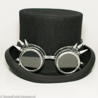 Steampunk goggles 220, kleur antiek zilver met spikes