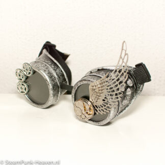 Steampunk goggles 240, kleur antiek zilver