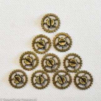 Steampunk tandwielen 45, set van 10 stuks, kleur brons
