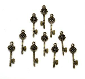 Steampunk sleutel 29, kleur brons, set van 10 stuks