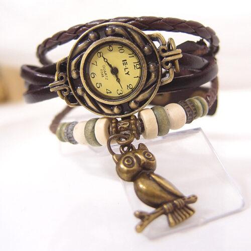 Steampunk horloge armband bruin