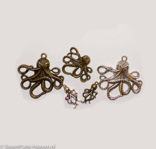 Mix van 5 steampunk octopus kettinghangers