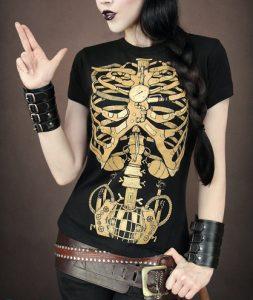 Steampunk mechanisch skelet t-shirt