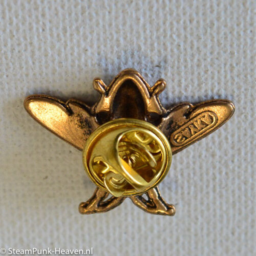 Steampunk broche 34, bijtje, kleur goud