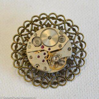 Steampunk broche 36, kleur brons