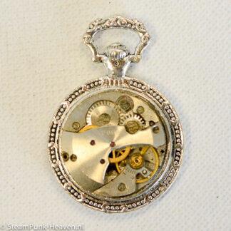 Steampunk klok 15, uurwerk in zilverkleurig zakhorloge