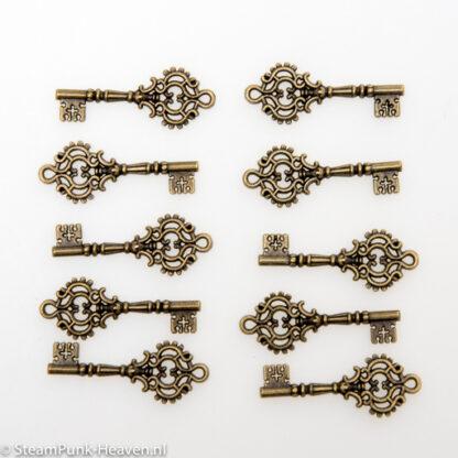 Steampunk sleutel 13, bronskleurig, set van 10 stuks