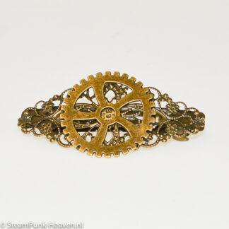 Steampunk haarklem 31, kleur brons met bronskleurig tandwiel