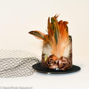 Steampunk mini-hoge-hoed Hannelore