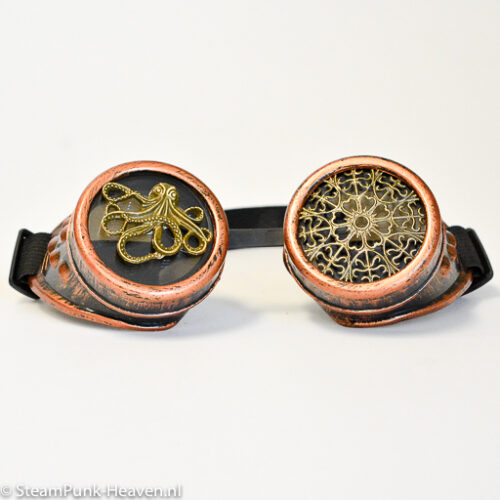 Steampunk goggles 352, kleur koper