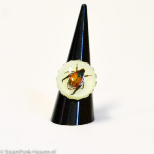 Steampunk ring 102 met echte kever