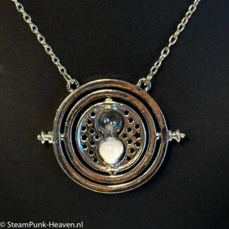 Steampunk ketting 293 - time turner ketting zilver