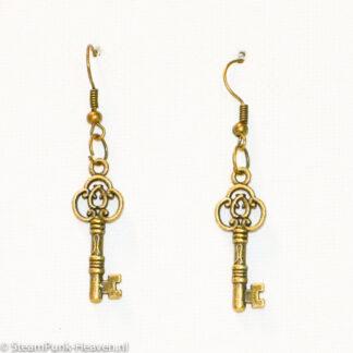Steampunk oorbellen 160 met sleuteltje