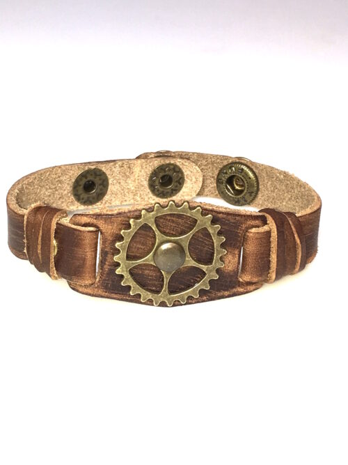 Steampunk leren armband 46