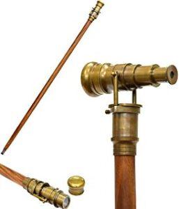 Steampunk wandelstok Henry met verrekijker antiek brons