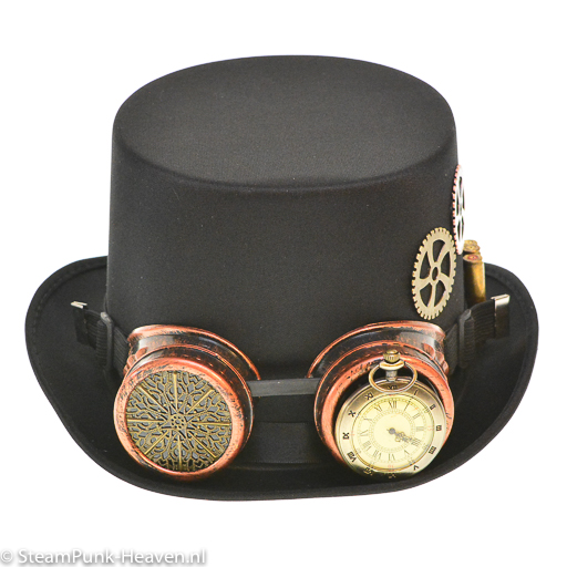 Steampunk hoed The Unforgiven met goggles en veren, maat L