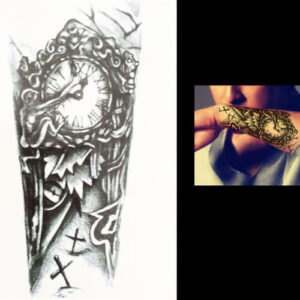 Steampunk tattoo sticker onderarm-klok