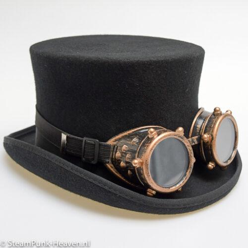 Steampunk goggles 19, kleur goud met schroeven