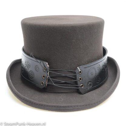 Steampunk lederen hoedenband Black Gear