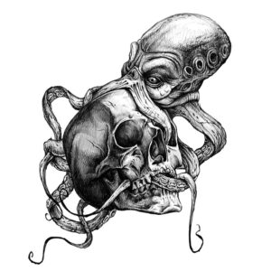 Steampunk tattoo sticker octo-skull