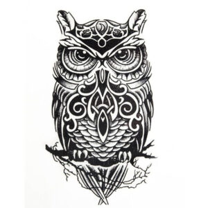 Steampunk tattoo sticker grote uil