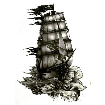 Steampunk tattoo sticker piratenship Jolly Rogers