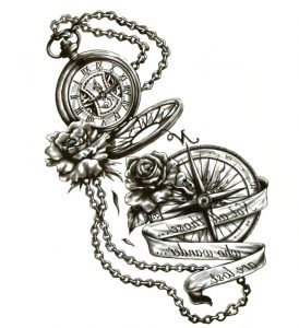 Steampunk tattoo sticker Not all those who wander are lost