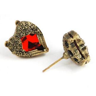 Steampunk oorbellen 117, kleur brons, hartje met rode steen