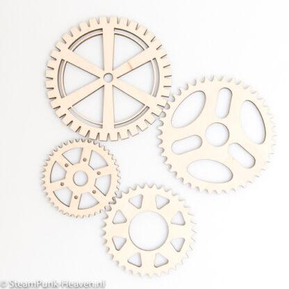 Steampunk tandwielen, hout, set van 4 stuks