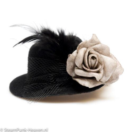Steampunk mini hoed Fenna met roosje