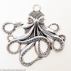 Steampunk octopus, kleur zilver